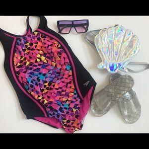 MULTICOLOR One-Piece, Girls Sports Splice Swimsuit